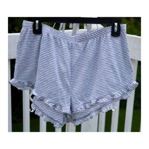 Gray Striped Ruffle Sleep Shorts